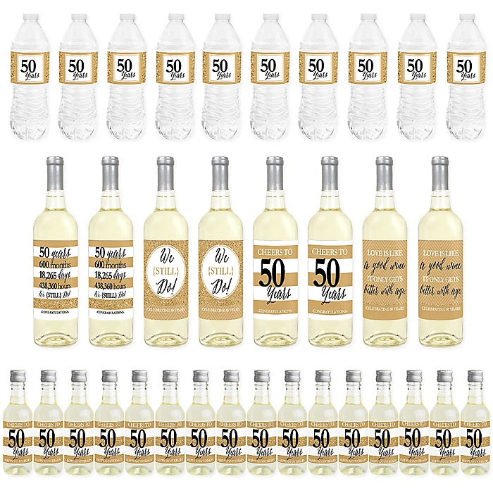We Still Do - 50th Wedding Anniversary - Mini Wine Bottle Labels, Wine Bottle Labels and Water Bottle Labels - Anniversary Party Decorations - Beverage Bar Kit - 34 Pieces