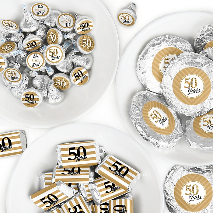 We Still Do - 50th Wedding Anniversary - Mini Candy Bar Wrappers, Round Candy Stickers and Circle Stickers - Anniversary Party Candy Favor Sticker Kit - 304 Pieces