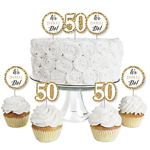 We Still Do - 50th Wedding Anniversary - Dessert Cupcake Toppers - Anniversary Party Clear Treat Picks - Set of 24