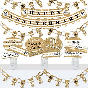We Still Do - 50th Wedding Anniversary - Banner and Photo Booth Decorations - Anniversary Party Supplies Kit - Doterrific Bundle