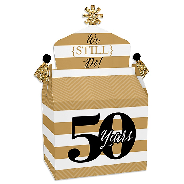 We Still Do - 50th Wedding Anniversary - Treat Box Party Favors - Anniversary Party Goodie Gable Boxes - Set of 12