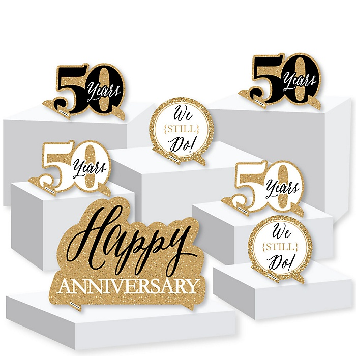 We Still Do - 50th Wedding Anniversary - Anniversary Party Centerpiece and Buffet Table Decor - Tabletop Standups - Set of 7