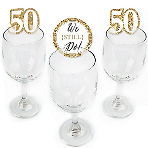 We Still Do - 50th Wedding Anniversary - Shaped Anniversary Party Wine Glass Markers - Set of 24