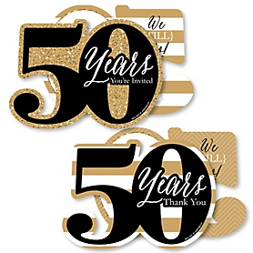 We Still Do - 50th Wedding Anniversary - 20 Shaped Fill-In Invitations and 20 Shaped Thank You Cards Kit - Anniversary Party Stationery Kit - 40 Pack