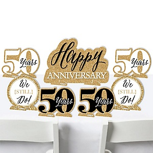 We Still Do - 50th Wedding Anniversary - Anniversary Party Centerpiece Table Decorations - Tabletop Standups - 7 Pieces