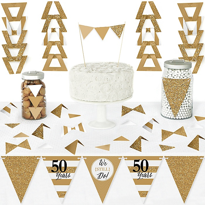 We Still Do - 50th Wedding Anniversary - DIY Pennant Banner Decorations - Anniversary Party Triangle Kit - 99 Pieces