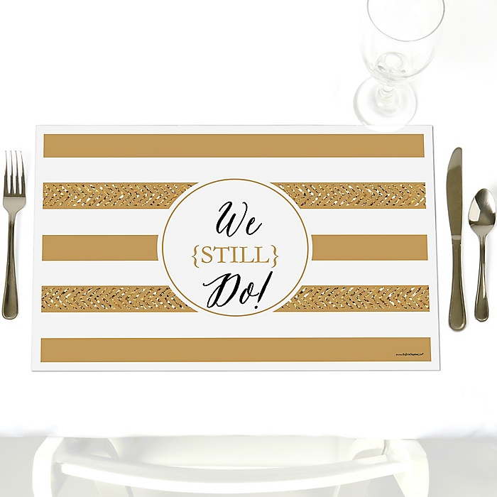 We Still Do - 50th Wedding Anniversary - Party Table Decorations - Wedding Anniversary Placemats - Set of 12