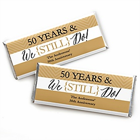 We Still Do - 50th Wedding Anniversary - Personalized Candy Bar Wrappers Wedding Anniversary Party Favors - Set of 24