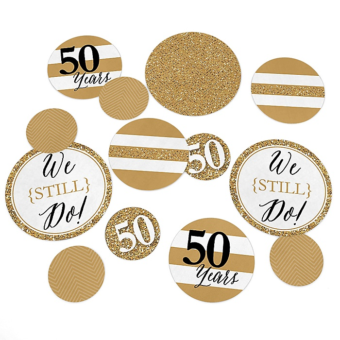 We Still Do - 50th Wedding Anniversary - Wedding Anniversary Giant Circle Confetti - Golden Anniversary Party Decorations - Large Confetti 27 Count