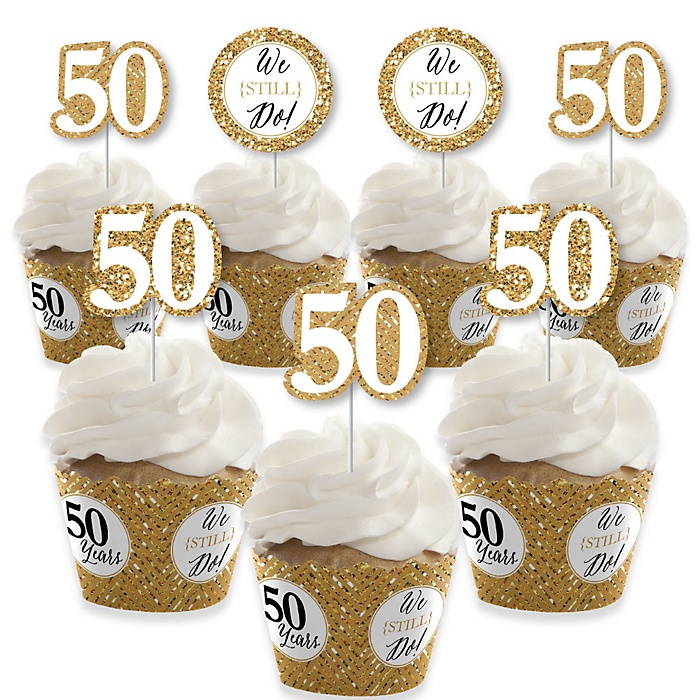 We Still Do - 50th Wedding Anniversary - Cupcake Decorations - Anniversary Party Cupcake Wrappers and Treat Picks Kit - Set of 24