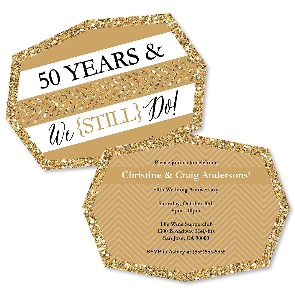 50th Wedding Anniversary Invitations.We Still Do 50th Wedding Anniversary Shaped Anniversary Invitations Set Of 12