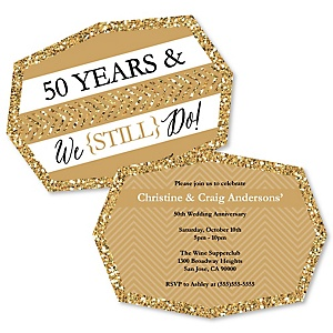 We Still Do - 50th Wedding Anniversary - Shaped Anniversary Invitations - Set of 12