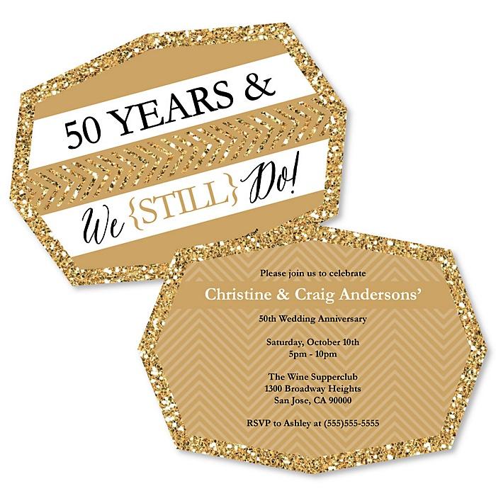 We Still Do - 50th Wedding Anniversary - Shaped Anniversary Invitations - Set of 12