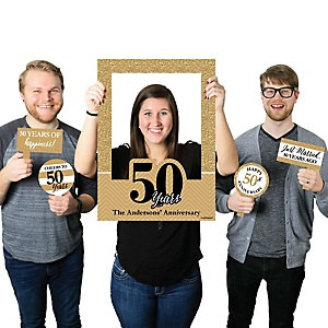 We Still Do - 50th Wedding Anniversary - Personalized Anniversary Selfie Photo Booth Picture Frame & Props - Printed on Sturdy Material