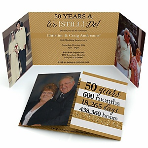 We Still Do - 50th Wedding Anniversary - Personalized Wedding Anniversary Photo Invitations - Set of 12