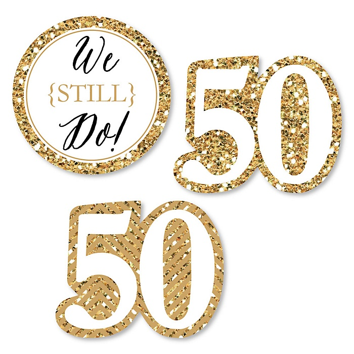 We Still Do - 50th Wedding Anniversary - DIY Shaped Wedding Anniversary Paper Cut-Outs - 24 ct