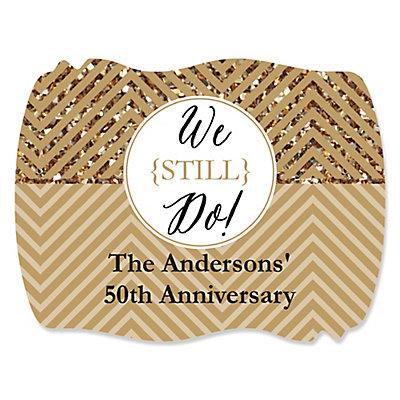 We Still Do   50th Wedding Anniversary   Personalized Wedding Anniversary  Squiggle Sticker Labels   16 Ct   BigDotOfHappiness.com