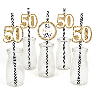We Still Do - 50th Wedding Anniversary Paper Straw Decor - Anniversary Party Striped Decorative Straws - Set of 24