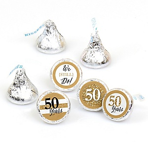 We Still Do - 50th Wedding Anniversary - Round Candy Labels Anniversary Party Favors - Fits Hershey's Kisses - 108 ct
