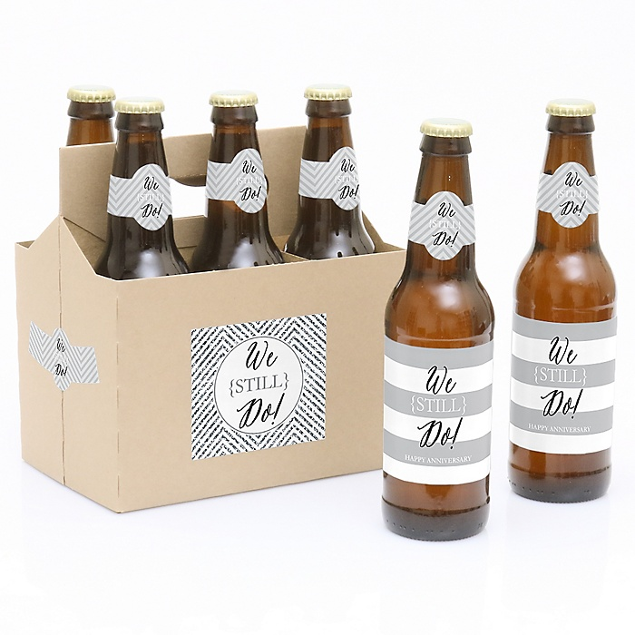 We Still Do - Wedding Anniversary - Decorations for Women and Men - 6 Beer Bottle Label Stickers and 1 Carrier