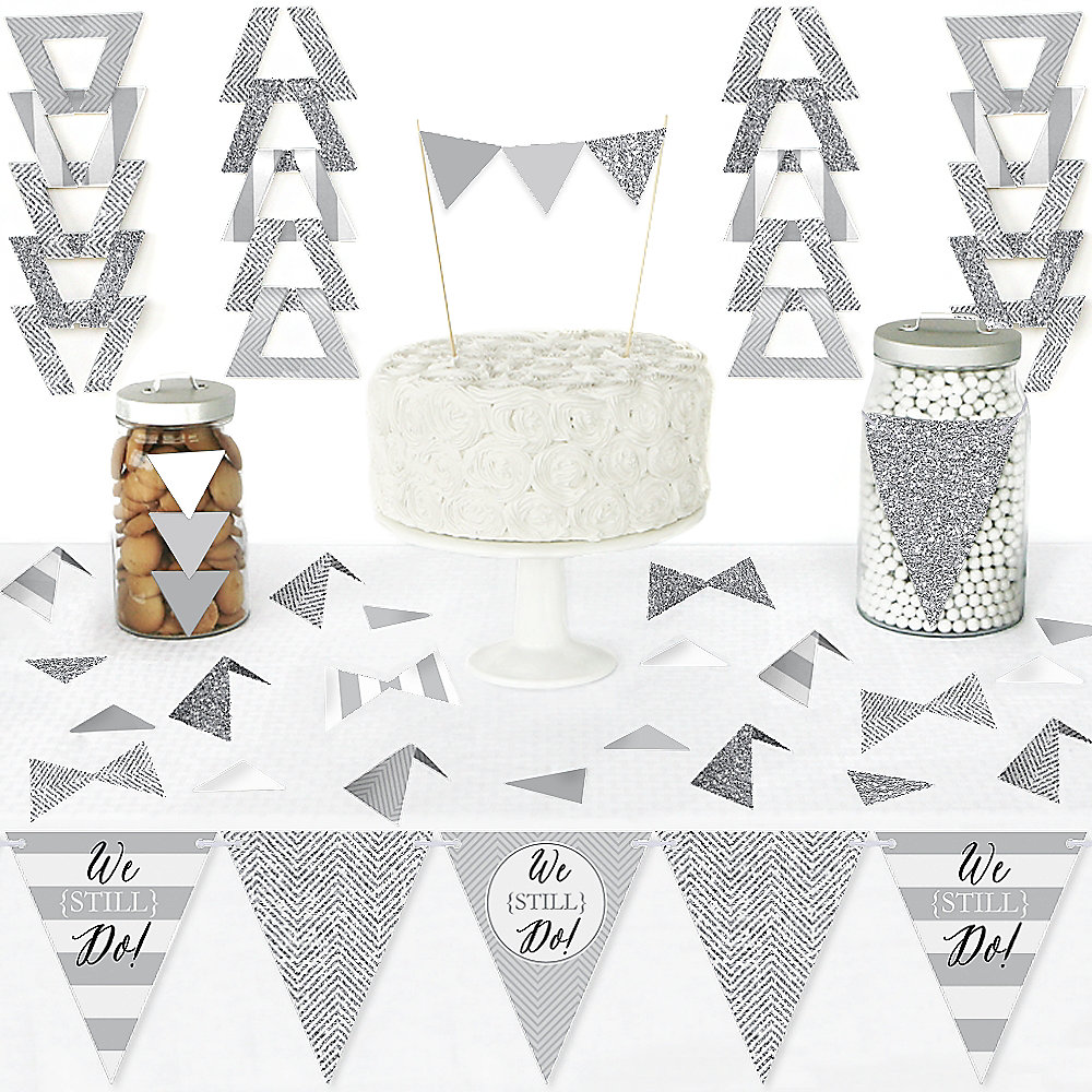 we still do - wedding anniversary - diy pennant banner decorations -  anniversary party triangle kit - 99 pieces