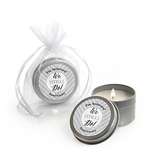 We Still Do - Wedding Anniversary - Personalized Wedding Anniversary Candle Tin Favors - Set of 12