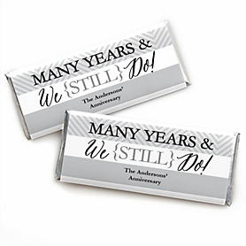 We Still Do - Wedding Anniversary - Personalized Candy Bar Wrappers Wedding Anniversary Party Favors - Set of 24