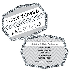 We Still Do - Wedding Anniversary - Shaped Anniversary Invitations - Set of 12