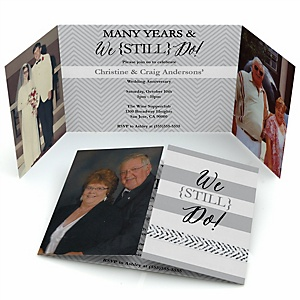 We Still Do - Wedding Anniversary - Personalized Wedding Anniversary Photo Invitations - Set of 12