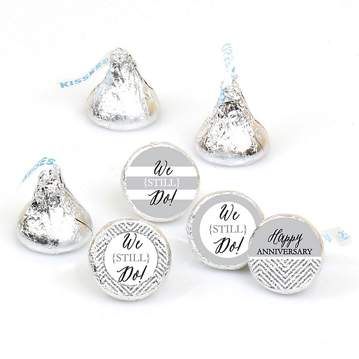 We Still Do - Wedding Anniversary - Round Candy Labels Wedding Anniversary Favors - Fits Hershey's Kisses - 108 ct