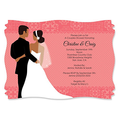 Custom Wedding Couples Coral Personalized Bridal Shower – Wedding Couple Shower Invitations