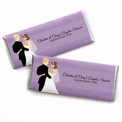 acb3b0a4f649 Custom Wedding Couples Purple - Personalized Bridal Shower Candy Bar Wrapper  Favors