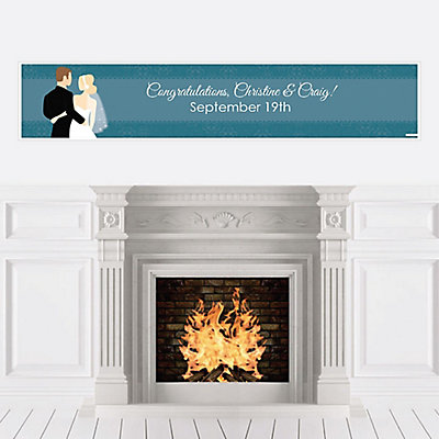 custom wedding couples teal personalized bridal shower banners bigdotofhappinesscom