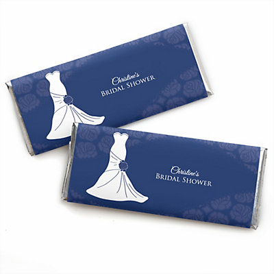 fb9960ec4cad Wedding Dress Blue - Personalized Candy Bar Wrappers Bridal Shower Favors -  Set of 24