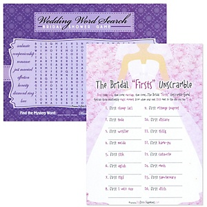 Bridal Firsts Unscramble and Wedding Word Search - Bridal Shower Two in One Games - 18 ct