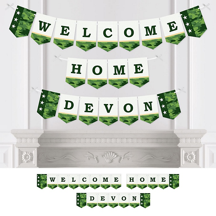 Welcome Home Hero - Personalized Military Army Homecoming Bunting Banner and Decorations