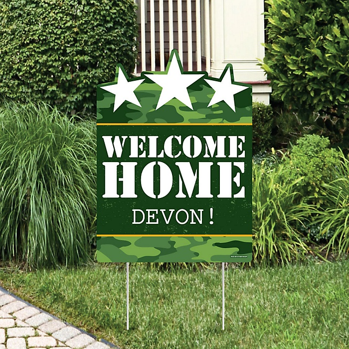 Welcome Home Hero - Party Decorations - Military Army Homecoming Personalized Welcome Yard Sign
