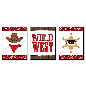 Western Hoedown - Wild West Cowboy Wall Art, Country Decorations and Kids Room Decor - 7.5 x 10 inches - Set of 3 Prints