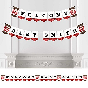 Western Hoedown - Personalized Wild West Cowboy Baby Shower Bunting Banner and Decorations