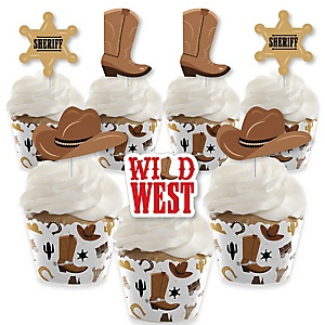 Western Hoedown - Cupcake Decorations - Wild West Cowboy Party Cupcake Wrappers and Treat Picks Kit - Set of 24