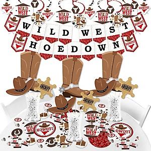 Western Hoedown - Wild West Cowboy Party Supplies - Banner Decoration Kit - Fundle Bundle