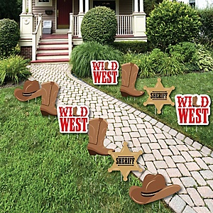Western Hoedown - Lawn Decorations - Outdoor Wild West Cowboy Party Yard Decorations - 10 Piece
