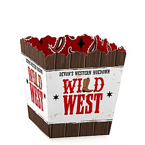 Western Hoedown - Party Mini Favor Boxes - Personalized Wild West Cowboy Party Treat Candy Boxes - Set of 12