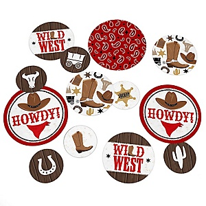 Western Hoedown - Wild West Cowboy Party Giant Circle Confetti - Party Decorations - Large Confetti 27 Count