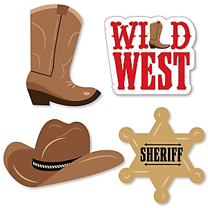 Western Hoedown - DIY Shaped Wild West Cowboy Party Cut-Outs - 24 ct