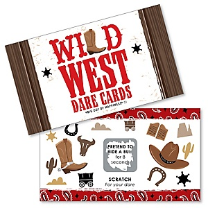 Western Hoedown - Wild West Cowboy Party Game Scratch Off Dare Cards - 22 Count