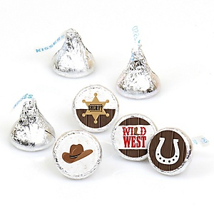 Western Hoedown - Wild West Cowboy Party Round Candy Sticker Favors - Labels Fit Hershey's Kisses - 108 ct