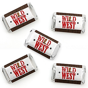 Western Hoedown - Mini Candy Bar Wrapper Stickers - Wild West Cowboy Party Small Favors - 40 Count