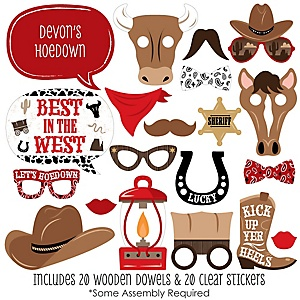 Western Hoedown - 20 Piece Wild West Cowboy Party Photo Booth Props Kit