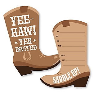 Western Hoedown - Shaped Fill-In Invitations - Wild West Cowboy Party Invitation Cards with Envelopes - Set of 12